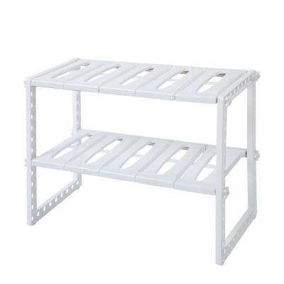 14 in. H x 10 in. W x 20 in. D Stainless Steel Multi-functional Kitchen Sink Rack Storage in White