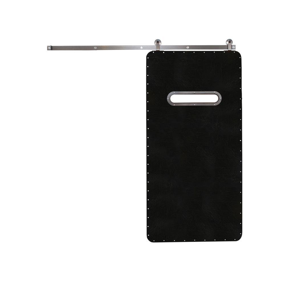Rustica Hardware 42 in. x 84 in. Modern Range Black Wood Barn Door with Top Mount Modern Sliding Door Hardware Kit
