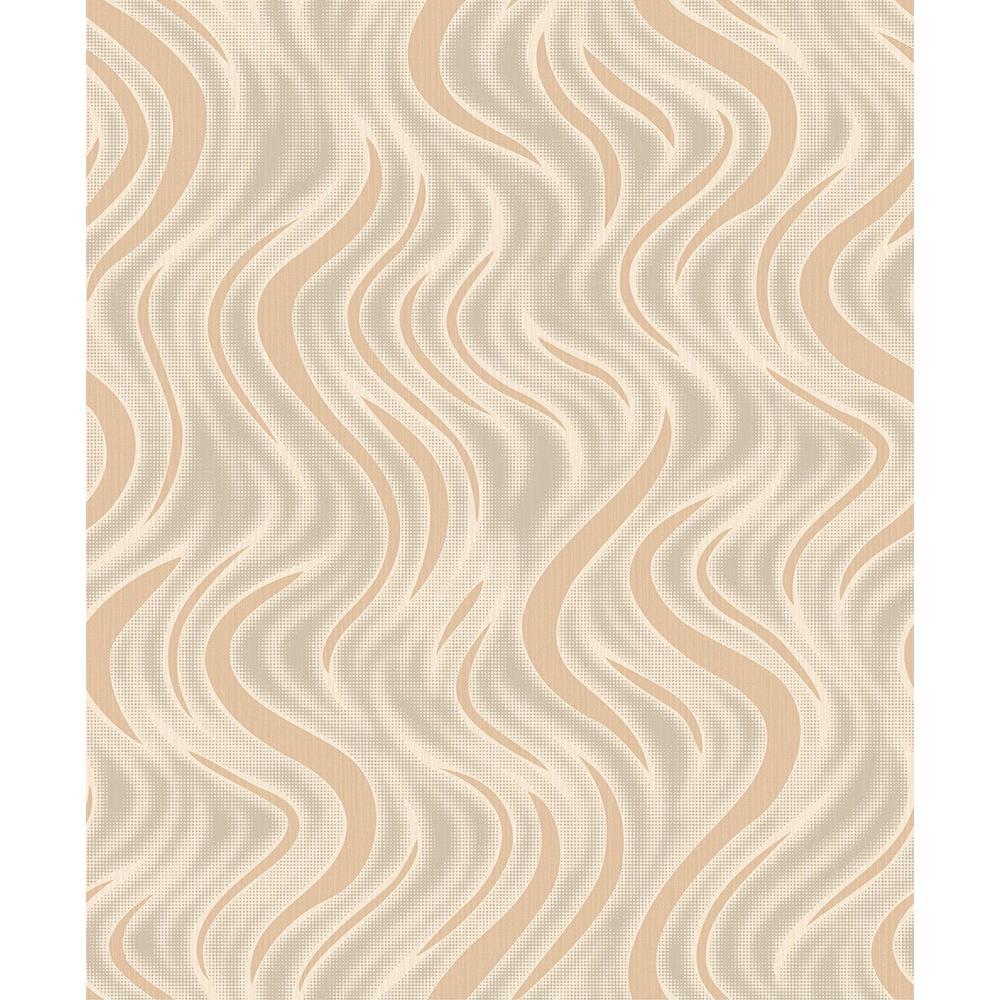 8 in. x 10 in. Roxie Orange Wave Wallpaper Sample