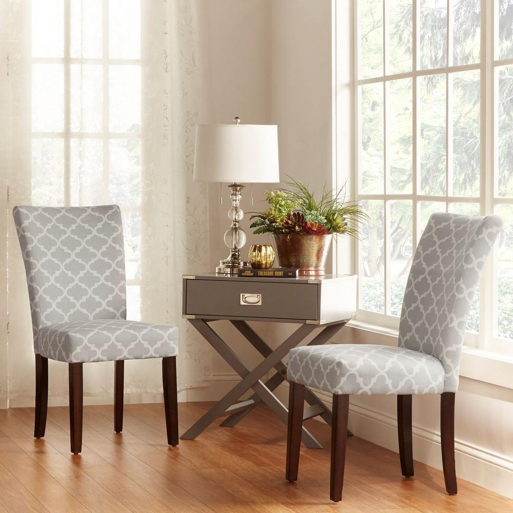 Homesullivan Espresso Frost Grey Pattern Fabric Parson Chair Set Of 2 40721s Ga 2pc The Home Depot