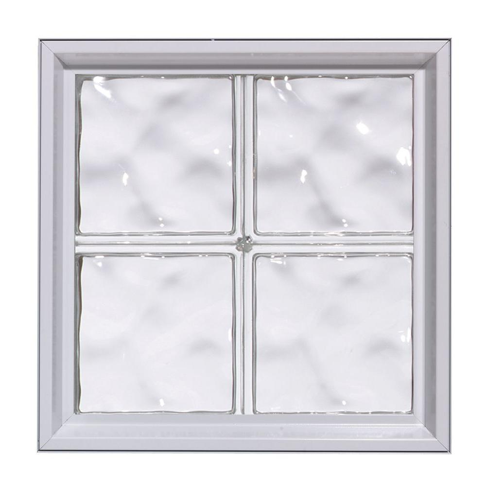 Pittsburgh Corning 32 in. x 24 in. x 5.5 in. LightWise Vue Pattern Hurricane Impact Glass Block Window