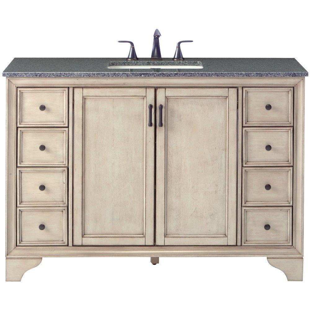 Hazelton 49 in. W x 22 in. D Bath Vanity in Antique Grey with Granite Vanity Top in Dark Grey