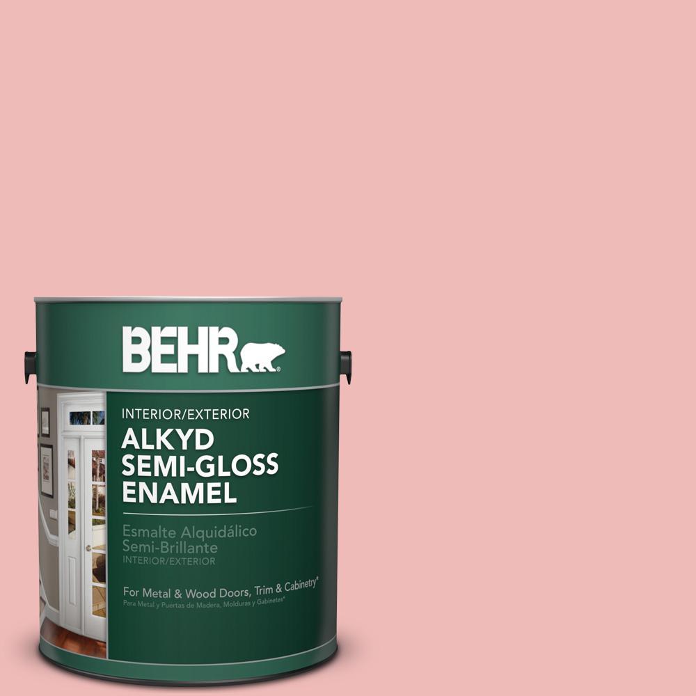 1 gal. #BIC-04 Pink Taffy Semi-Gloss Enamel Alkyd Interior/Exterior Paint