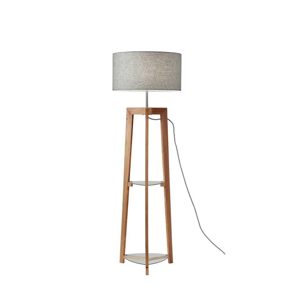 60 in. Wood Shelf Floor Lamp