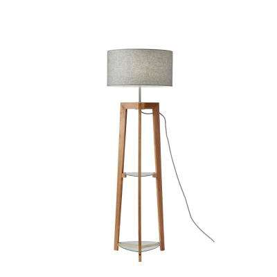 60 in. Wood Shelf Floor Lamp