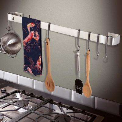 Handcrafted 42 in. Stainless Steel Wall Rack Utensil Bar with 12-Hooks