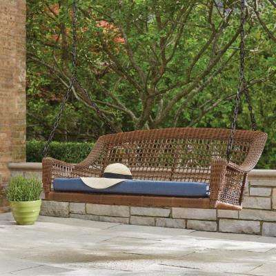 Spring Haven Brown 2-Person Wicker Outdoor Swing with Blue Cushion
