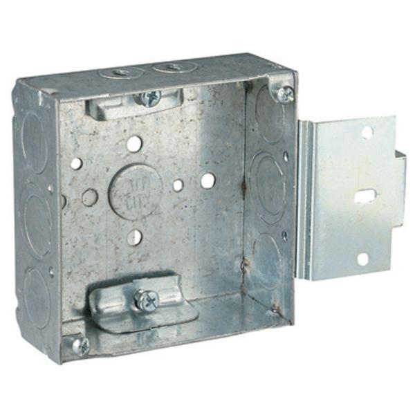 1-Gang 4 in. 21 cu. in. New Work Pre-Galvanized Metal Square Electrical Box with MS Bracket (Case of 25)