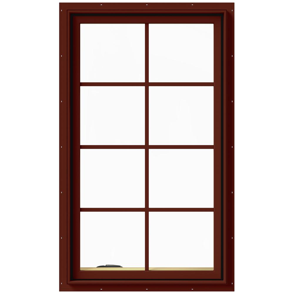 JELD-WEN 28 in. x 48 in. W-2500 Series Red Painted Clad Wood Left-Handed Casement Window with Colonial Grids/Grilles
