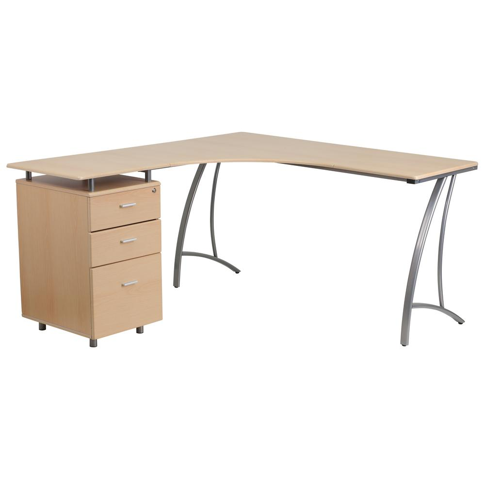 Flash Furniture Beech Laminate L Shape Desk With 3 Drawer Pedestal
