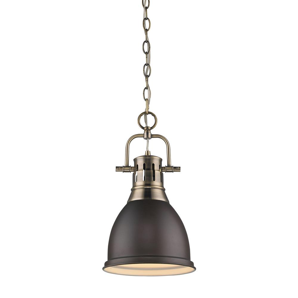 Duncan 1-Light Antique Brass 8.8 in. Pendant with Rubbed Bronze Shade