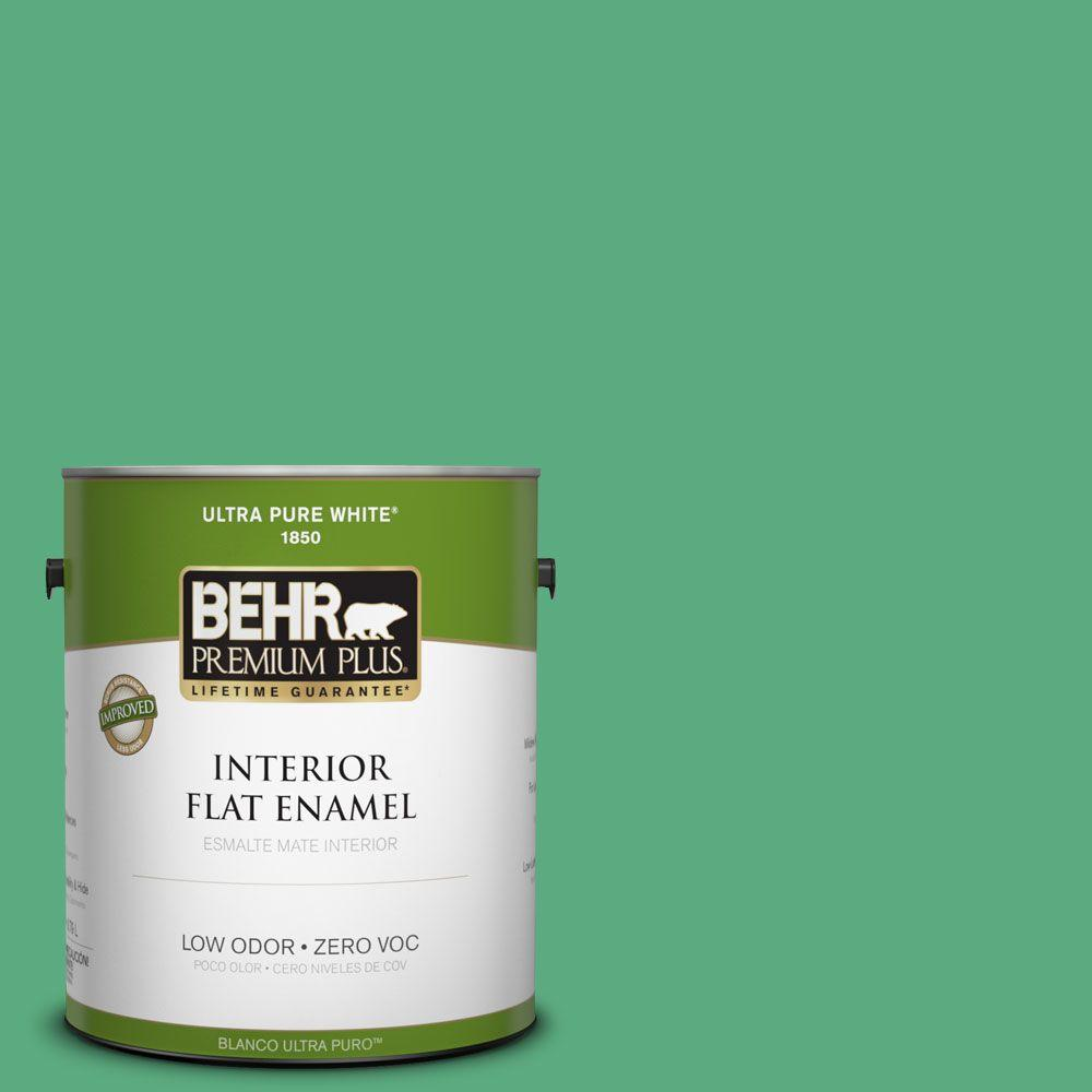 BEHR Premium Plus 1-gal. #T14-4 Edgewater Flat Enamel Interior Paint-DISCONTINUED