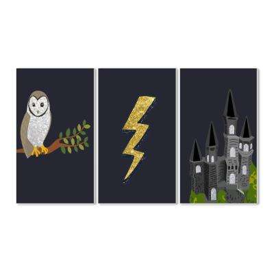 "10 in. x 15 in. ""Wizardry Owl Castle and Lightning"" by Daphne Polselli Printed Wood Wall Art"
