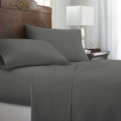 Embossed Chevron Gray King Performance 4-Piece Bed Sheet Set