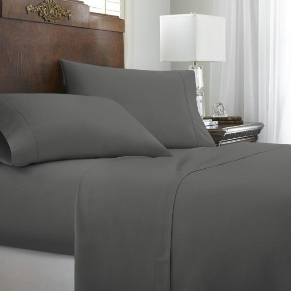 Becky Cameron Embossed Chevron Gray Twin Performance 4-Piece Bed Sheet Set