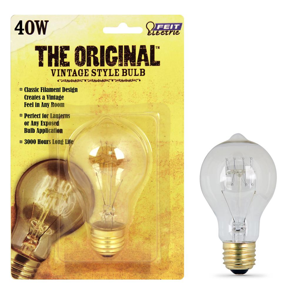 Feit Electric 40w Soft White At19 Dimmable Incandescent Antique Edison Amber Filament Vintage Style Light Bulb Bp40at19 Rp The Home Depot