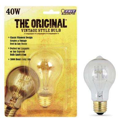 40W Soft White AT19 Dimmable Incandescent Antique Edison Amber Filament Vintage Style Light Bulb