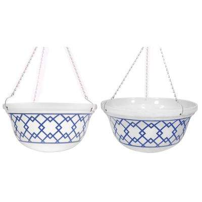 14 in. D Melamine Hanging Planter with White and Blue Interlocking Squares Pattern (2-Set)
