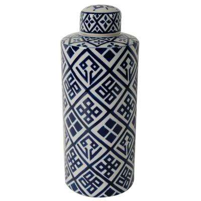 Valora 7 in. x 18 in. Blue and White Decorative Cylinder Vase