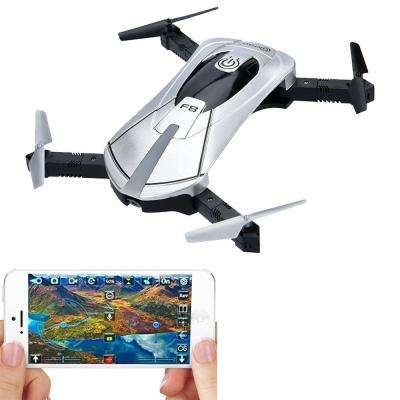 F8 Foldable Pocket Size Selfie Drone Voice Controls 720p HD Wi-Fi Live FPV Video Camera Gravity Control, Silver