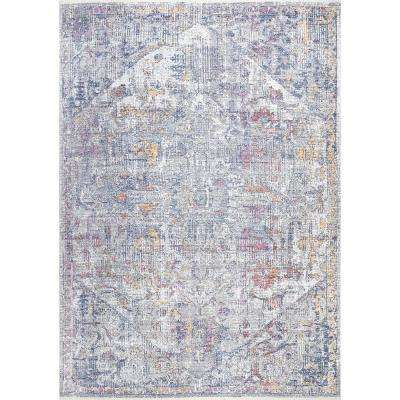 Blossom Faded Medallion Gray 5 ft. 3 in. x 7 ft. 7 in. Area Rug