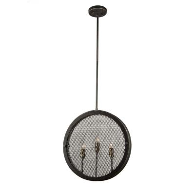 3-Light Granite Black and Vintage Brass Pendant