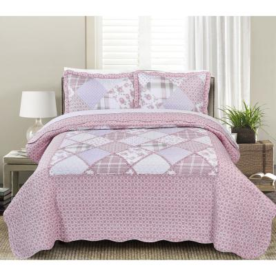 MHF Home Dharma Floral and Plaid Patchwork King Quilt Set (3-Piece)