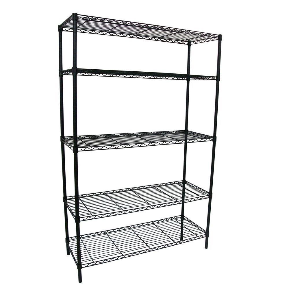 HDX 36 in. W x 16 in. D x 72 in. H Black 5-Shelf Wire Storage Unit