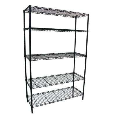 36 in. W x 16 in. D x 72 in. H Black 5-Shelf Wire Storage Unit