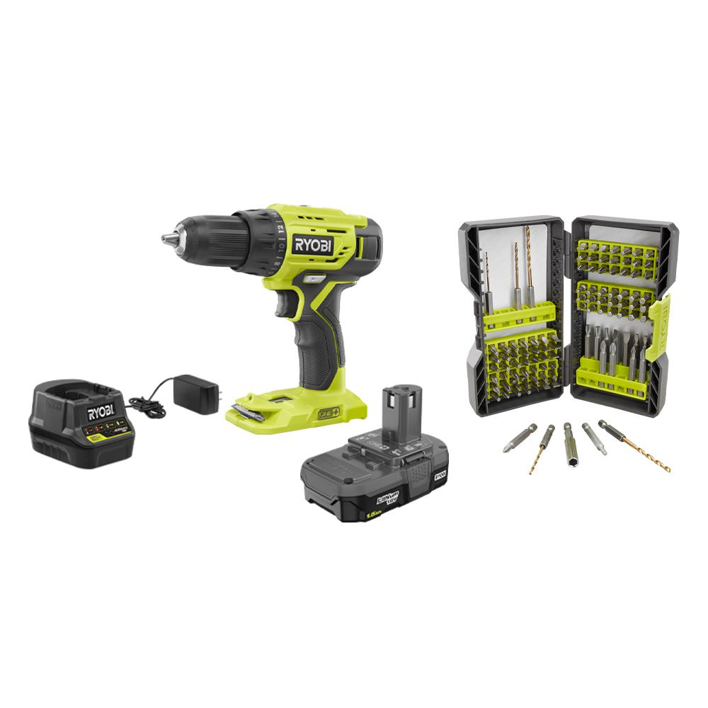 RYOBI 18-Volt Cordless ONE+ 1/2 in. Drill/Driver Kit w/(1) 1.5 Ah Battery, Charger and Titanium Coated Steel Drill/Drive Kit