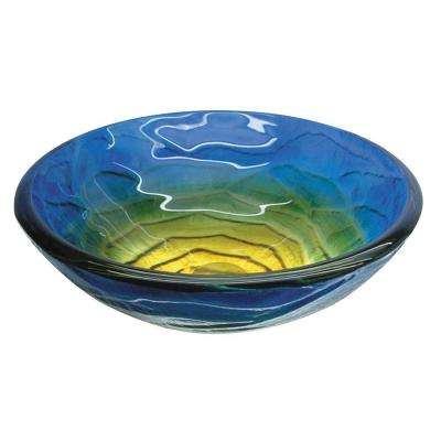 Fused Warm Glass Vessel Sink In Retro Blues