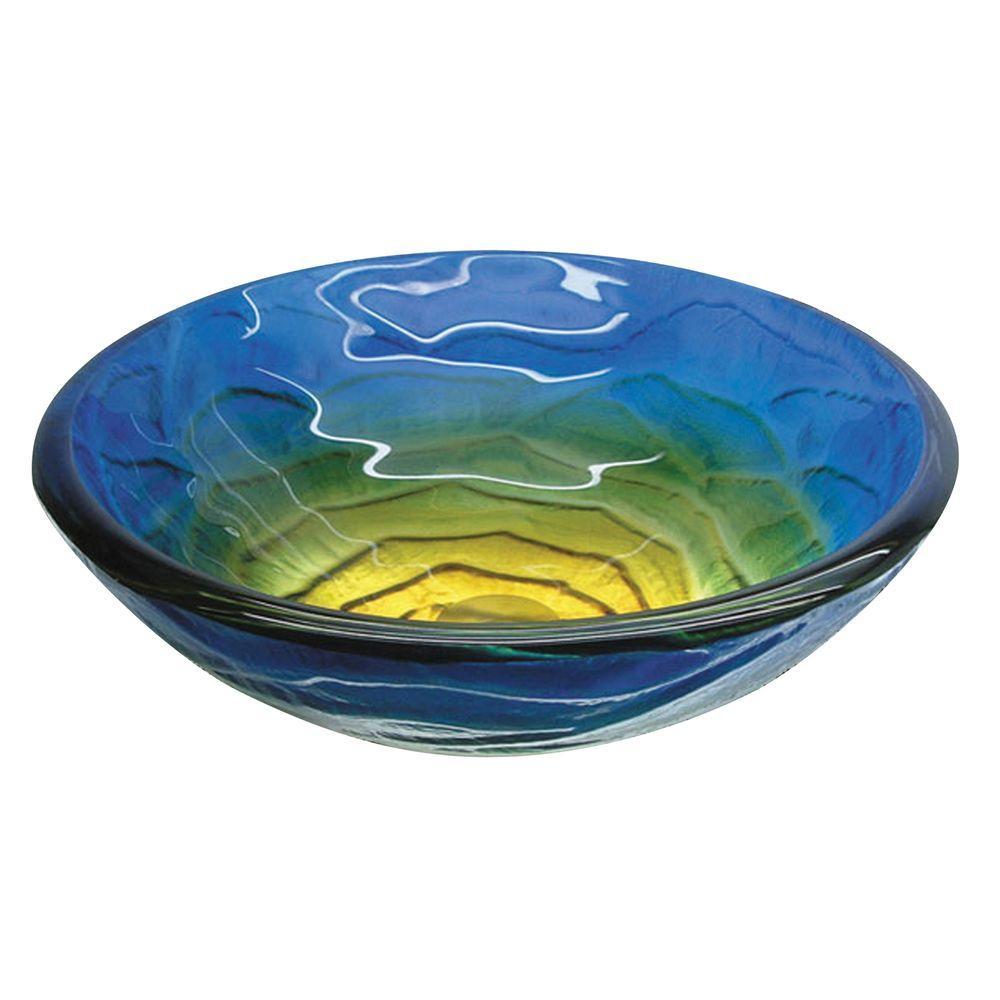 Fused Warm Glass Vessel Sink in Retro Blues