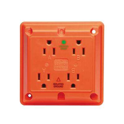 15 Amp Hospital Grade Extra Heavy Duty Isolated Ground 4-in-1 Outlet, Orange