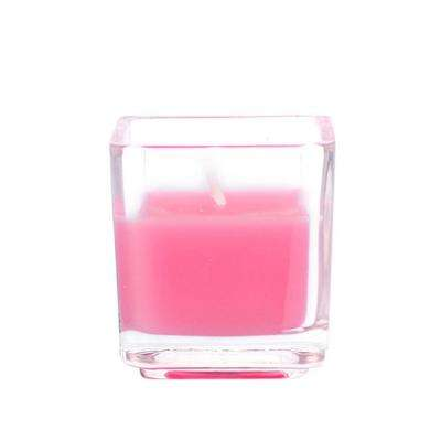 2 in. Hot Pink Square Glass Votive Candles (12-Box)