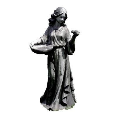 38 in. Tall Standing Girl Holly with Bird Magnesium Statue