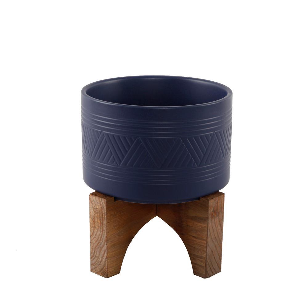 Flora Bunda 7 in. Matte Navy Mountain Ceramic Planter on Wood Stand