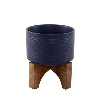 7 in. Matte Navy Mountain Ceramic Planter on Wood Stand