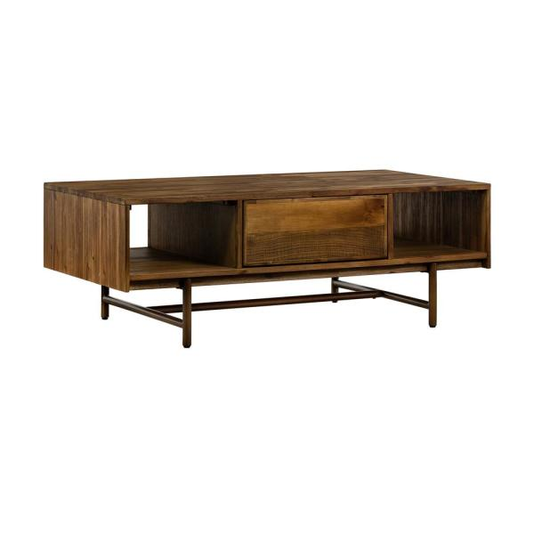 Armen Living Superb Rustic Oak Coffee Table with Drawer LCSUCORU