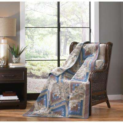Nautical Log Brown, Tan and Blue Cabin Quilted Throw