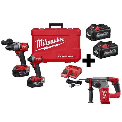 M18 FUEL 18-Volt Lithium-Ion Brushless Cordless Hammer Drill Driver/SDS Rotary Hammer/ Impact Driver with 4-Batteries
