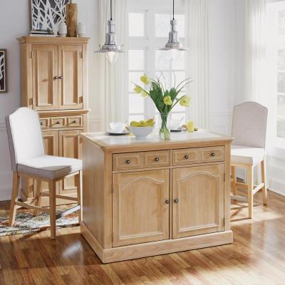 Cambridge White Wash Natural Kitchen Island Set with Quartz Top