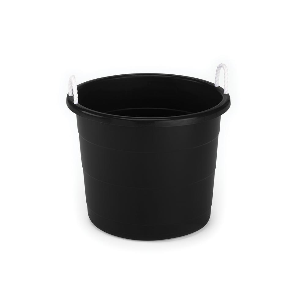 HOMZ 17 Gal Rope Handle Tub in Black 2 Pack 0417BKE