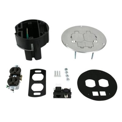 Wiremold Dual Service Floor Box Kit with Duplex Receptacle and one RJ45 Cat 5e Jack, Coax F Connector, Aluminum