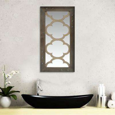 Aged Rectangular Wooden Crafted Mirror Frame