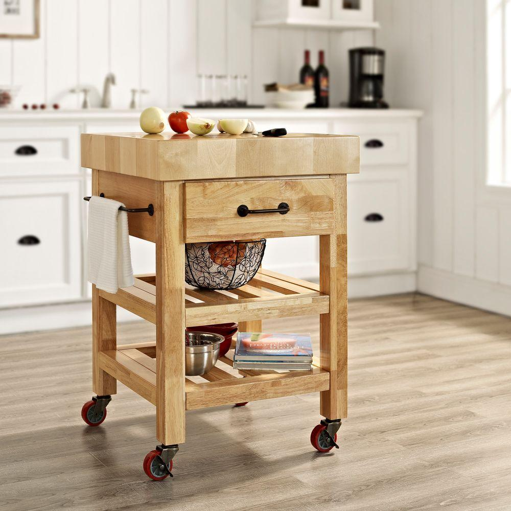 Crosley Marston Natural Kitchen Cart With Butcher Block Top