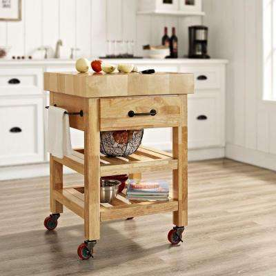 Marston Natural Kitchen Cart With Butcher Block Top