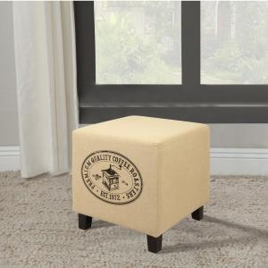 Vintage Recycle Beige D Coffee Design Ottoman by