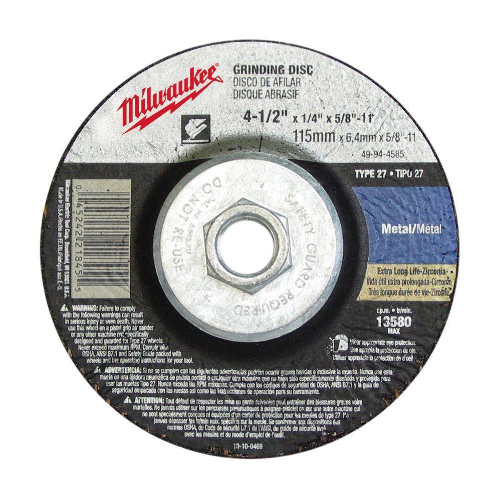 Milwaukee 4-1/2 inch x 1/8 inch x 5/8-11 inch Grinding Wheel (Type 27) by Milwaukee