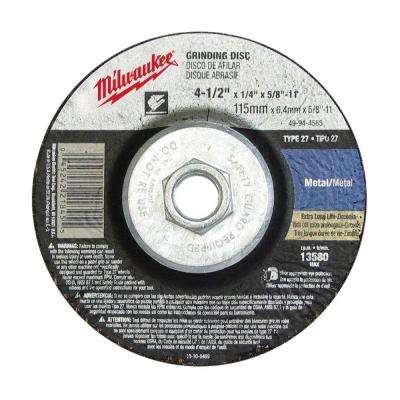 4-1/2 in. x 1/8 in. x 5/8-11 in. Grinding Wheel (Type 27)