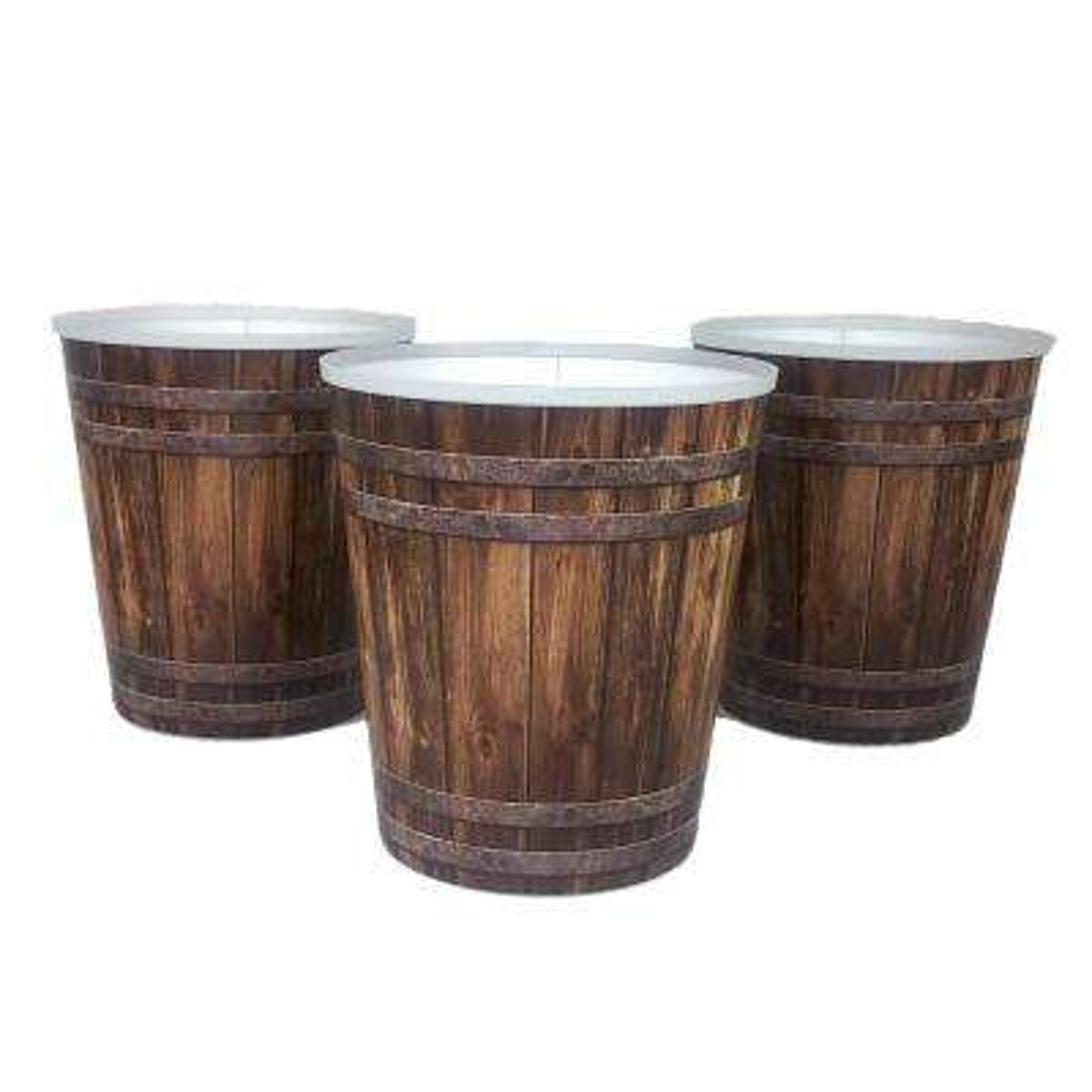 7 in. Decorative Woodtone Plastic Coverpot (3-Pack)